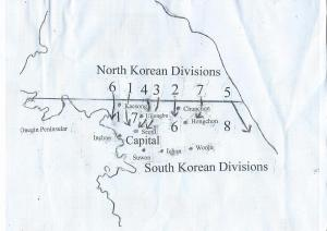 The advance of the North Korean Divisions during the first three days of the war.