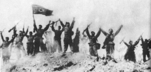 Victorious North Korean troops
