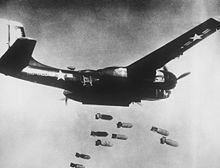 A B26 bomber dropping its bombs over Korea.